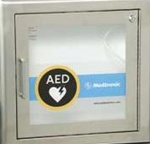 AED Stainless Steel Wall Cabinet Semi-Recessed