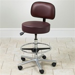 Clinton Select Series 5-Leg Pneumatic Lab Stool with Aluminum Base & Black Nylon Glides