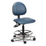 Clinton Select Series 5-Leg Pneumatic Lab Stool with Aluminum Base & Casters