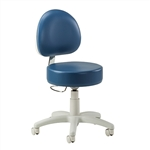 Clinton Passport Series 5-Leg Pneumatic Stool with Contour, D-Shaped Backrest