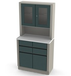UMF Treatment Cabinet with upper cabinet section, 2 doors, 4 drawers, 25.25'W x 65'H x 16.25'D