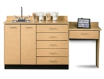 Base Cabinet Set with 2 Doors, 6 Drawers and Desk