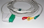 Spacelabs/Nihon Kohden Direct Connect, One-Piece ECG Cable - 3 Leads AHA Snap