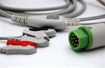 Siemens Direct Connect, One-Piece ECG Cable - 3 Leads AHA Clip