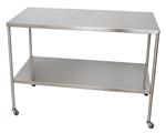 UMF Stainless Steel Instrument Table with Shelf, 24'x48'