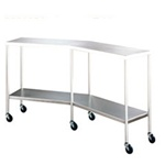 UMF Stainless Steel Instrument Table, Angular Instrument/Back Table with Shelf