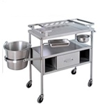UMF Stainless Steel Dressing Cart with Jars (bottles not included)