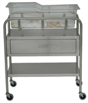 UMF Stainless Steel Bassinet, 1 Shelf, 1 Drawer